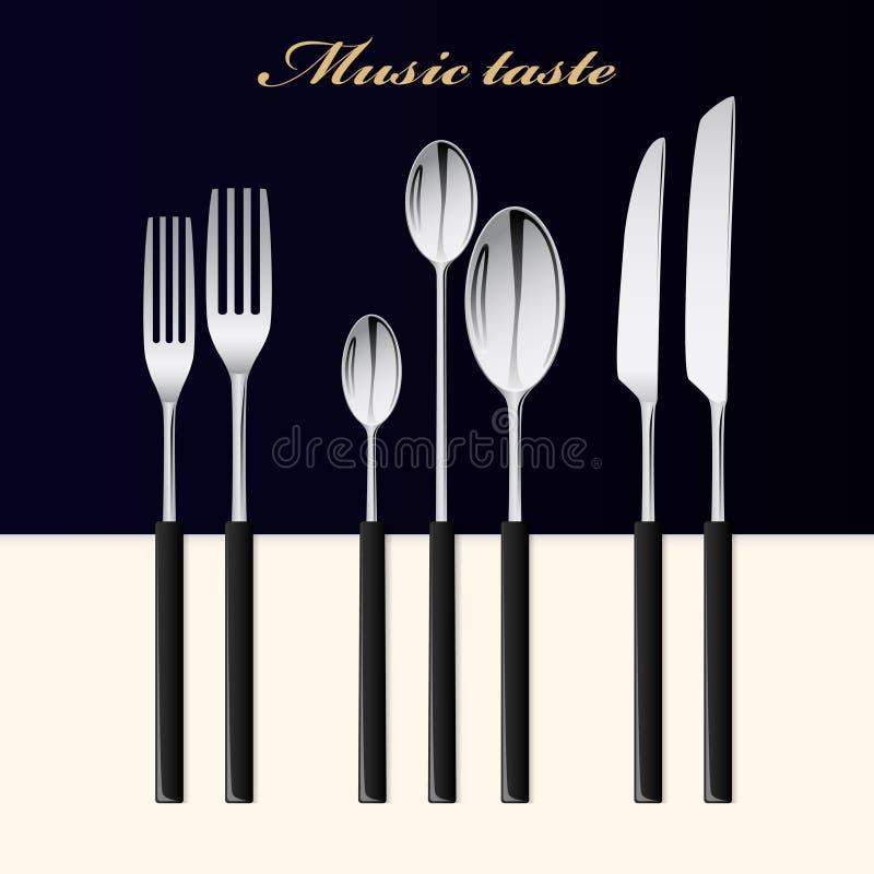 cutlery Ложка, вилка и нож штабелированные вверх на таблице бесплатная иллюстрация