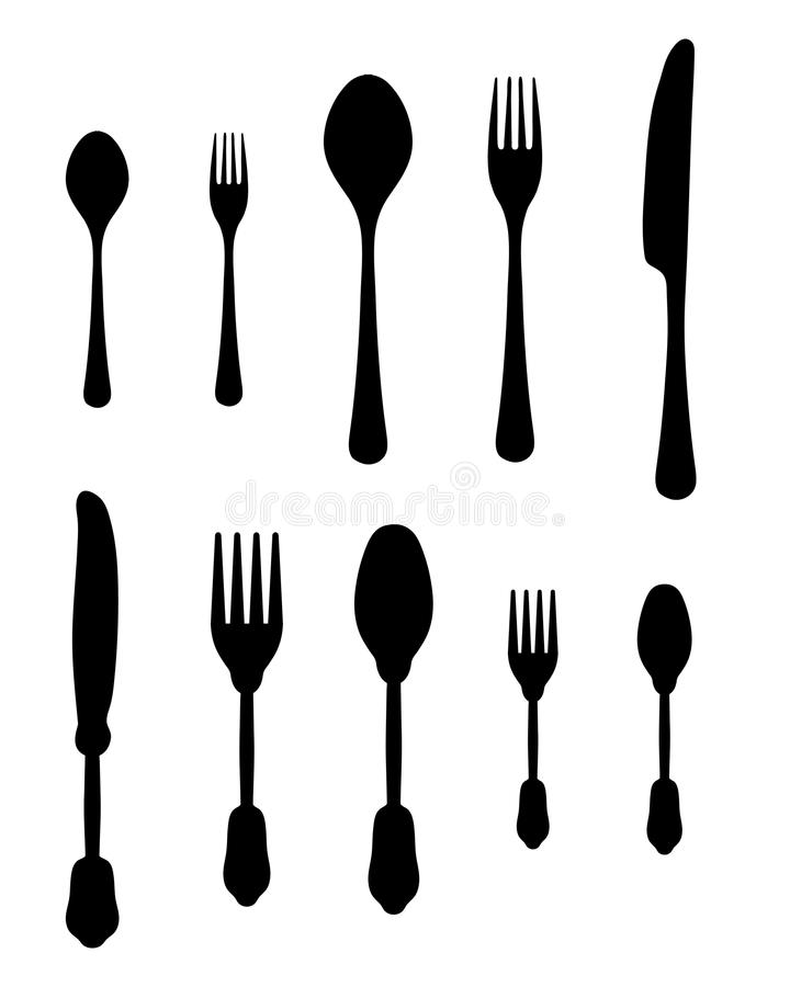 Cutlery. Black silhouettes of cutlery, illustration stock illustration