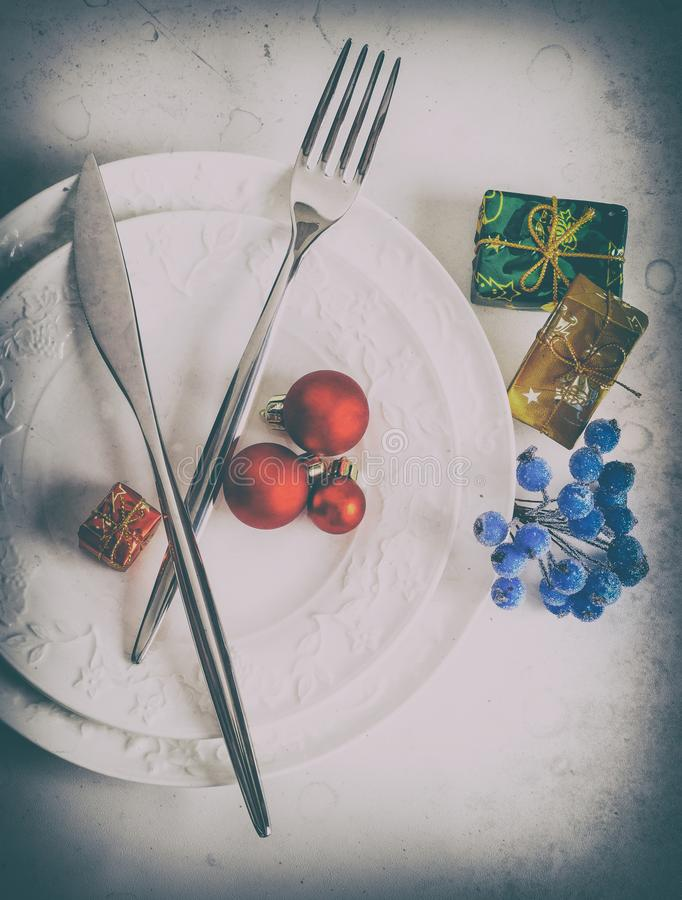 Cutlery for Christmas dinner stock photography