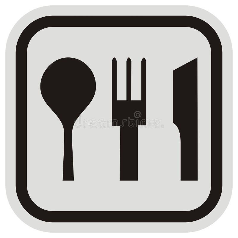 Cutlery, czarna sylwetka rozwidlenie, łyżka i nóż, royalty ilustracja