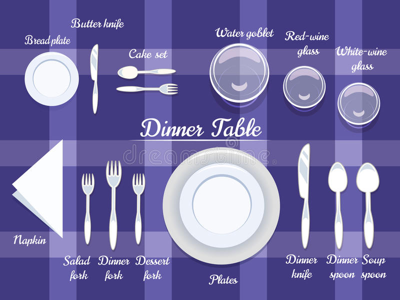 Cutlery on Dining Table stock illustration