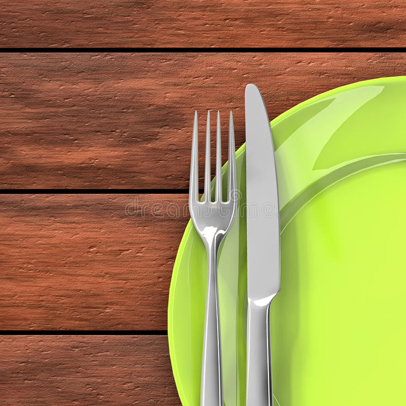 Cutlery in the dish. Knife, fork and green dish on the dining table stock illustration