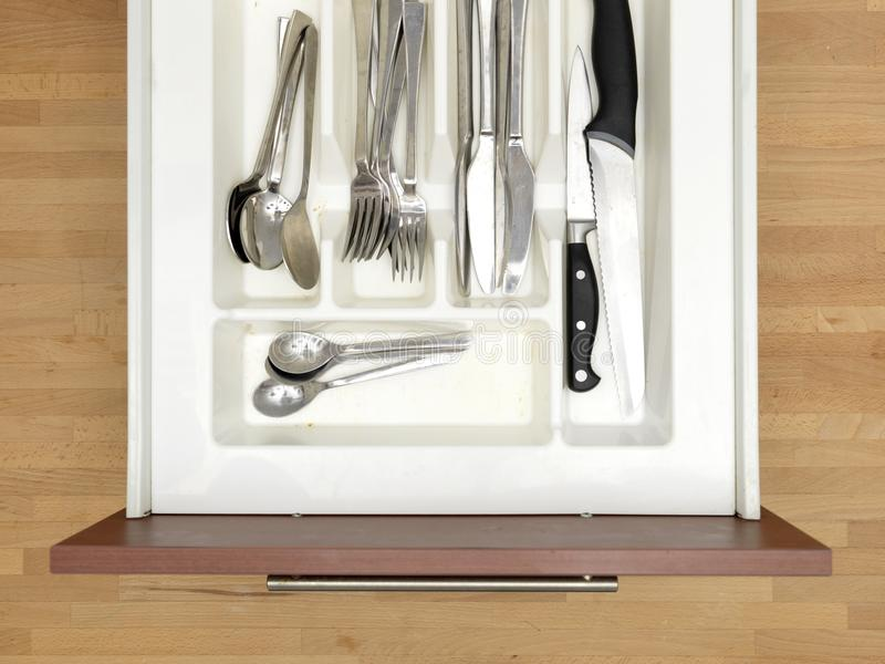 Cutlery Draw. A close up shot a cutlery draw royalty free stock photos