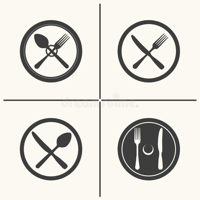 Cutlery flat icon set. Plate, fork, knife and spoon icons. Vector cutlery flat icon set royalty free illustration