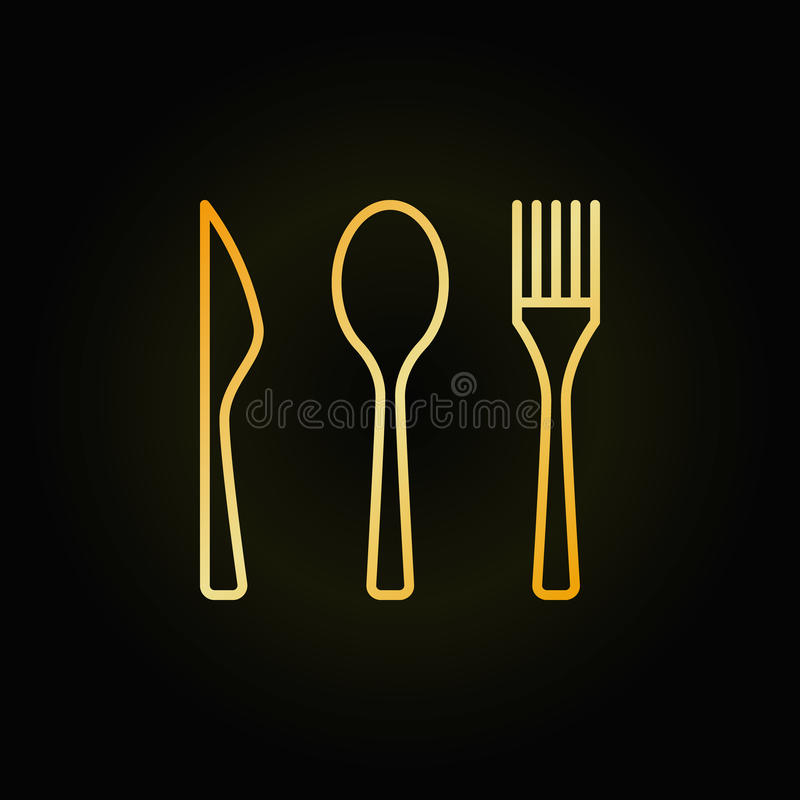 Free Cutlery Golden Linear Icon Royalty Free Stock Photos - 94016848