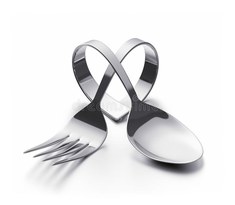 Cutlery heart. Bent spoon and fork representing a heart