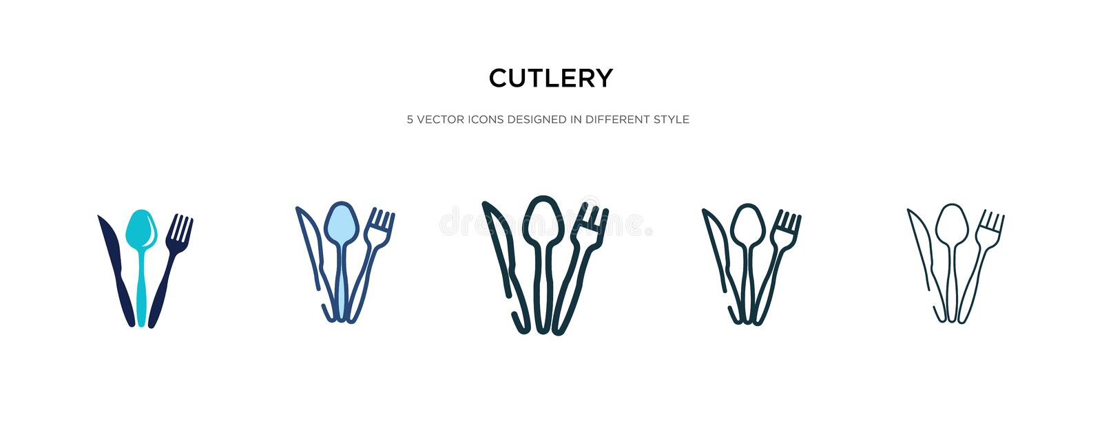 Cutlery icon in different style vector illustration. two colored and black cutlery vector icons designed in filled, outline, line vector illustration