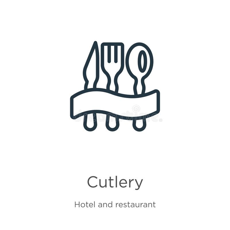 Cutlery icon. Thin linear cutlery outline icon isolated on white background from hotel collection. Line vector cutlery sign, stock illustration