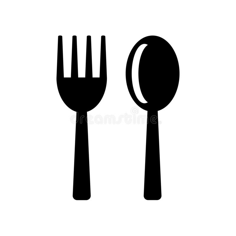 Cutlery icon vector isolated on white background, Cutlery sign , food symbols royalty free illustration