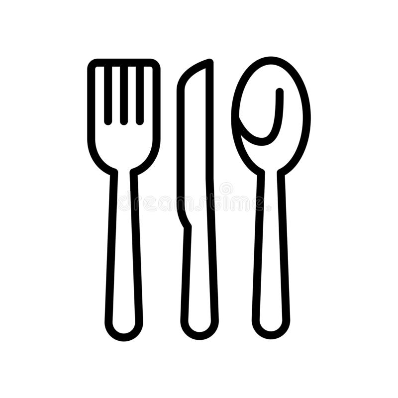 Cutlery icon vector isolated on white background, Cutlery sign , line and outline elements in linear style royalty free illustration