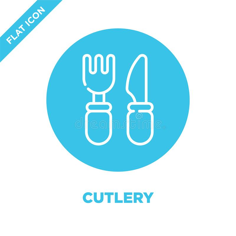 cutlery icon vector from take away collection. Thin line cutlery outline icon vector  illustration. Linear symbol for use on web royalty free illustration