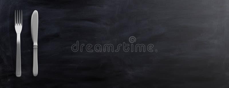 Cutlery isolated on black background. 3d illustration stock illustration