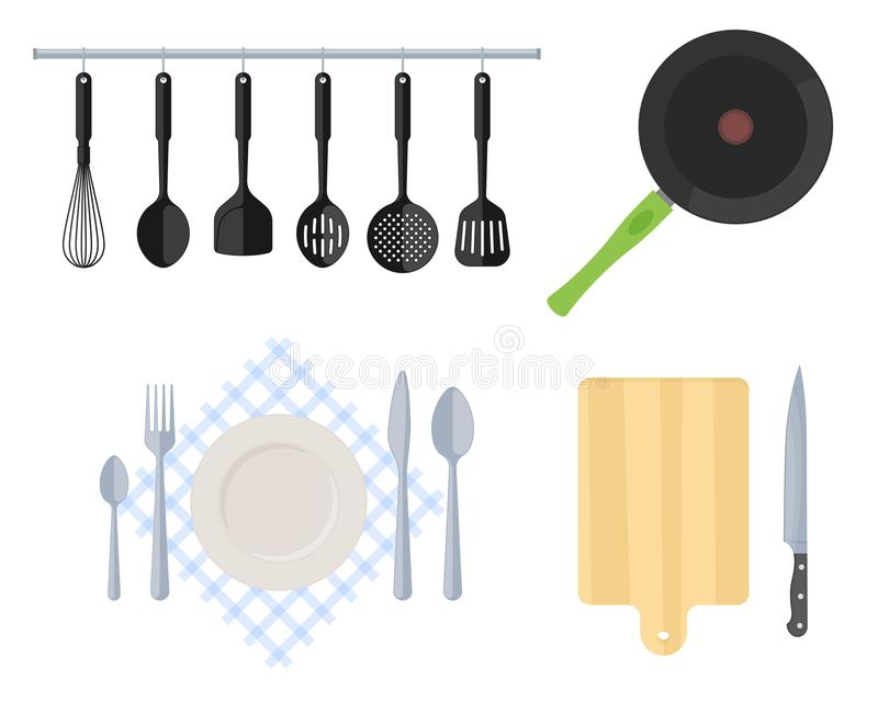 Cutlery and kitchen utensil set. Flat vector illustration royalty free illustration