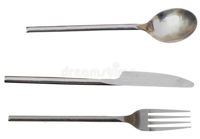 Cutlery Knife Fork And Spoon. All Isolated Seperately With PNG File Included stock image