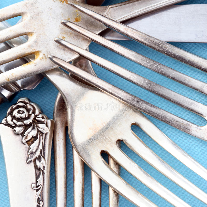 Cutlery knives and forks stock image