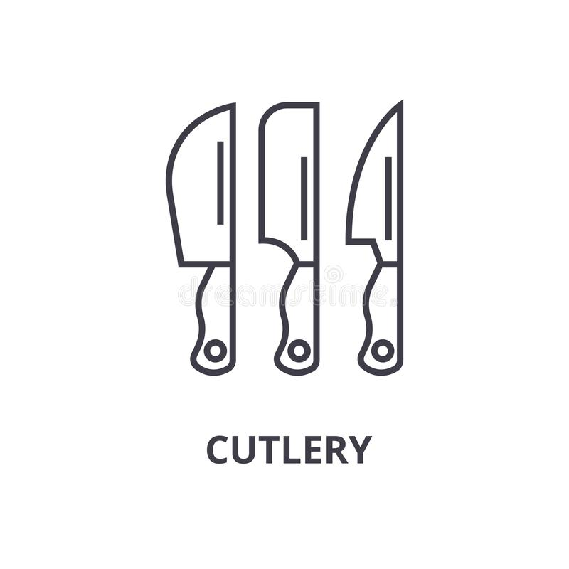 Cutlery line icon, outline sign, linear symbol, vector, flat illustration stock illustration