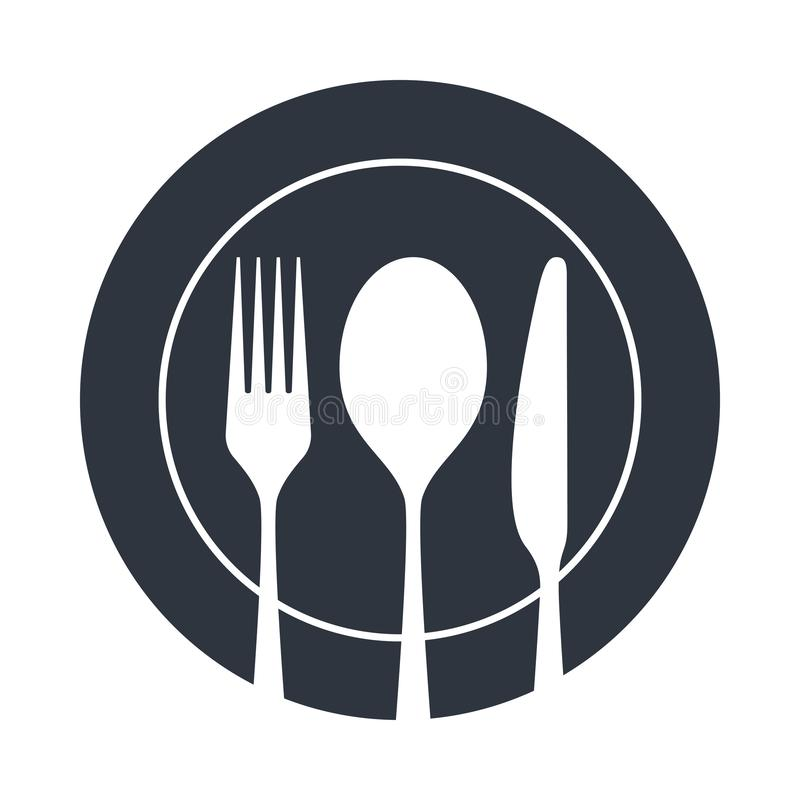 Cutlery na talerzu ilustracji