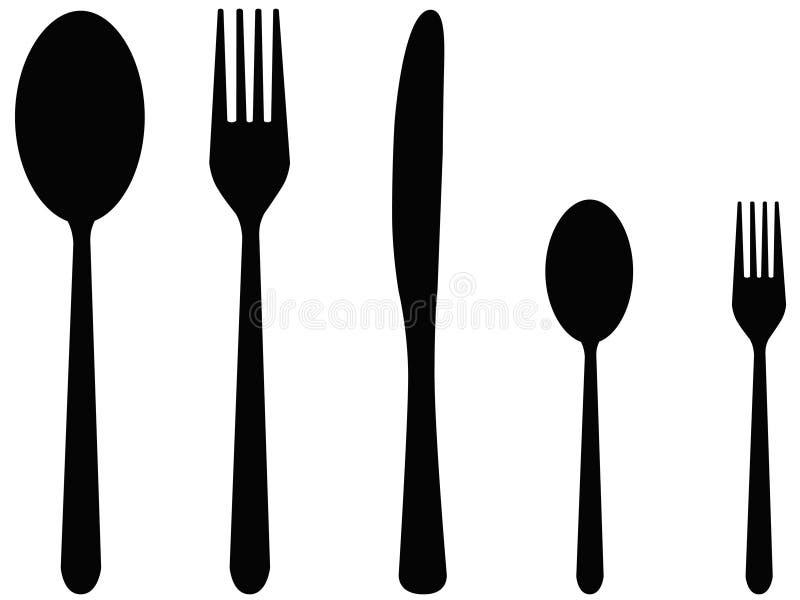 cutlery pięć ilustracji