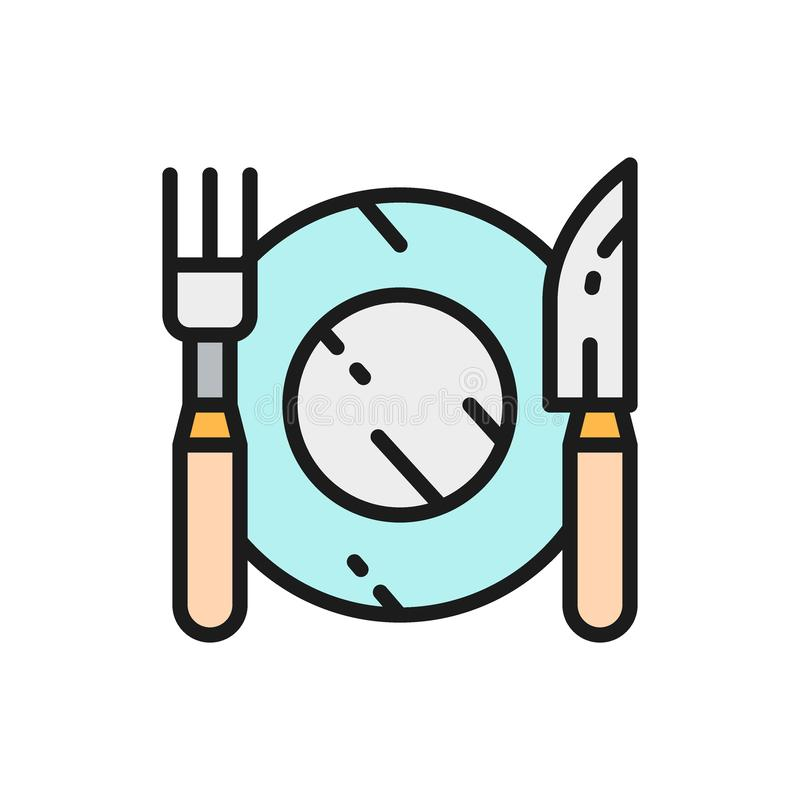 Cutlery, plate with fork and knife flat color line icon. royalty free illustration
