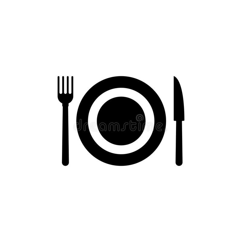 Cutlery Plate Fork and Knife Flat Vector Icon vector illustration
