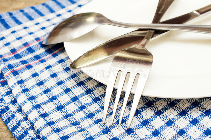 Cutlery on a plate stock image