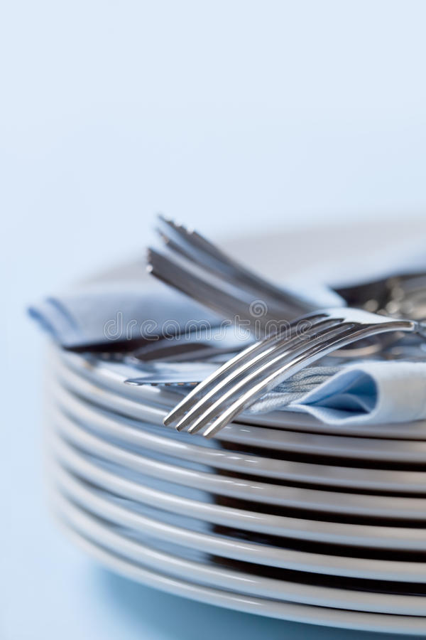 Download Cutlery and Plates stock photo. Image of fork, soft, differential - 14860876