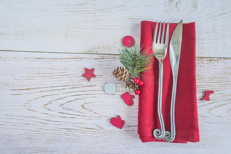 Festive Christmas holiday place setting. stock photo
