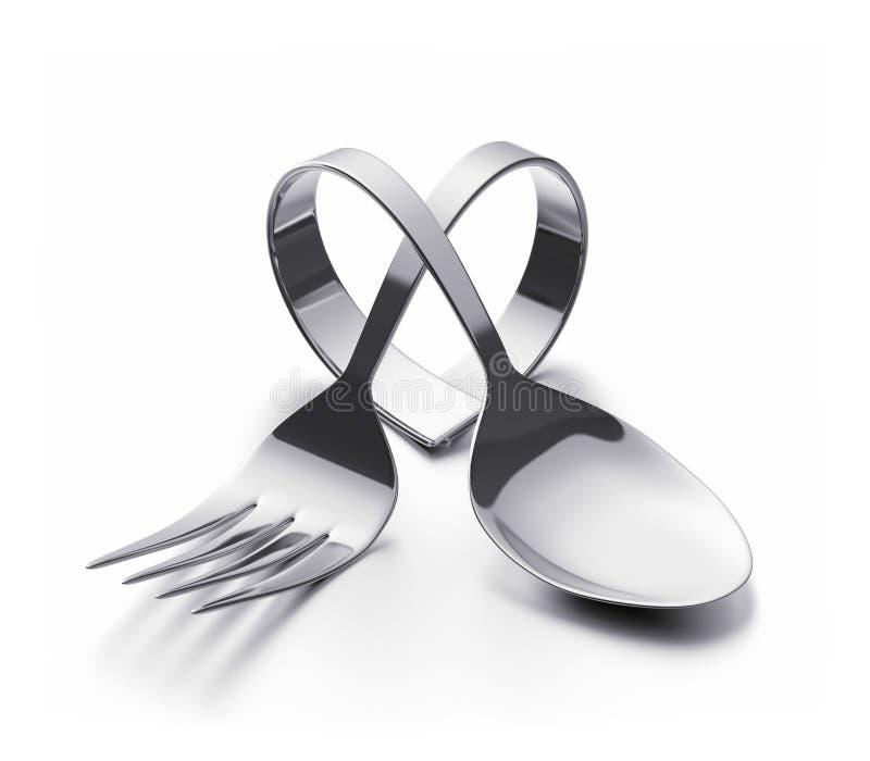 Cutlery serce royalty ilustracja