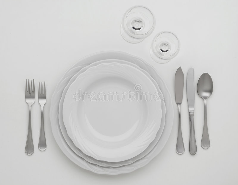 Cutlery set. On a white table stock photos