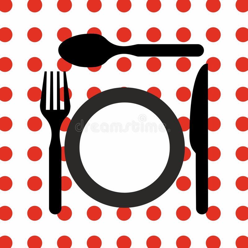 Cutlery set kitchen restaurant equipment vector icon. Spoon knife fork plate stock illustration