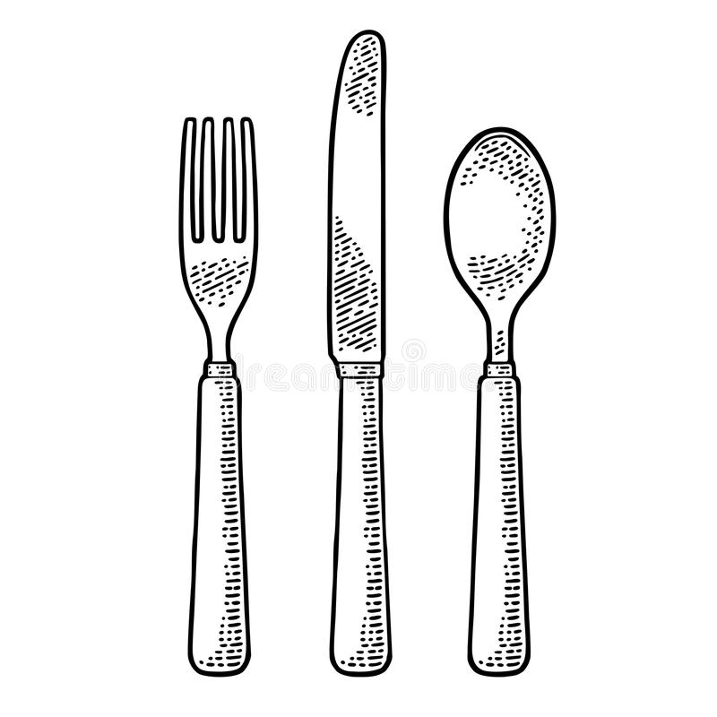 Cutlery set with knifes, spoon and fork. Vector vintage engraving. Cutlery set with knifes, spoon and fork. Vector black vintage engraving illustration for menu royalty free illustration