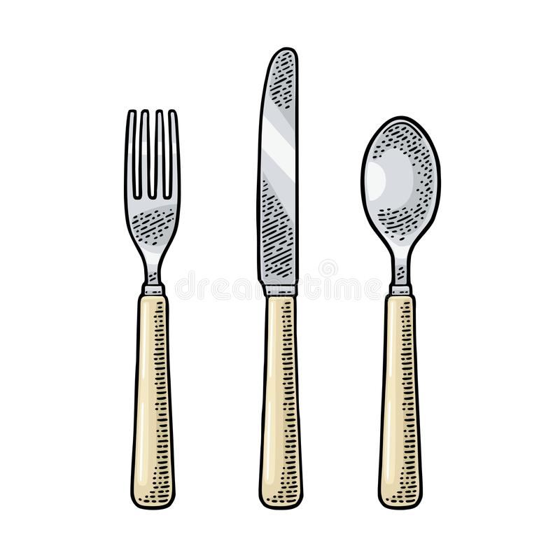 Cutlery set with knifes, spoon and fork. Vector vintage engraving. Cutlery set with knifes, spoon and fork. Vector color vintage engraving illustration for menu vector illustration