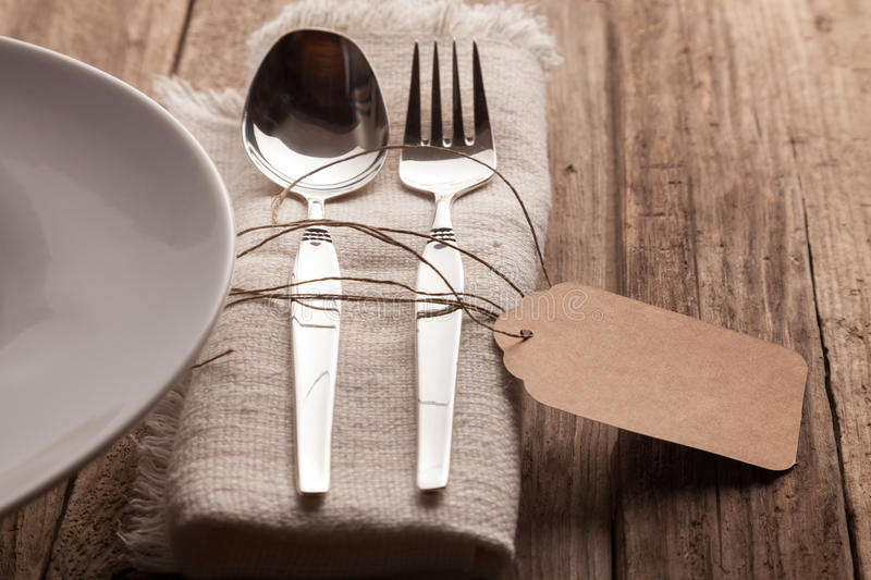 Download Cutlery Set At Rustic Wooden Table Setting Stock Photo - Image of decoration place & Cutlery Set At Rustic Wooden Table Setting Stock Photo - Image of ...