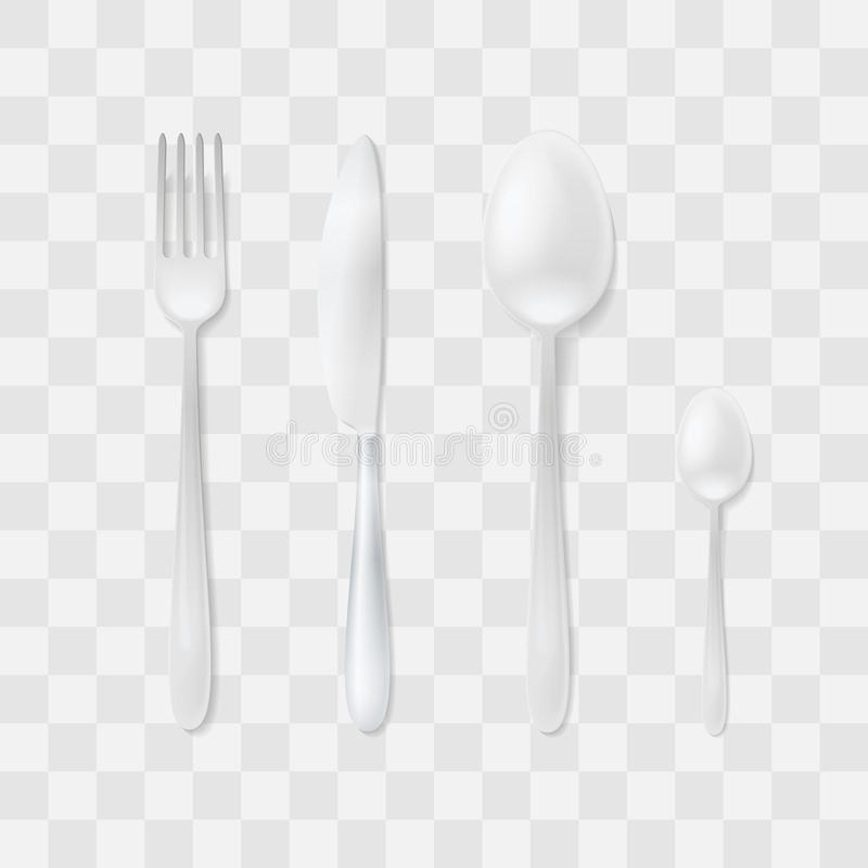 Cutlery Set. Silver Fork, Spoon And Knife. Top View Flatware Vector ...