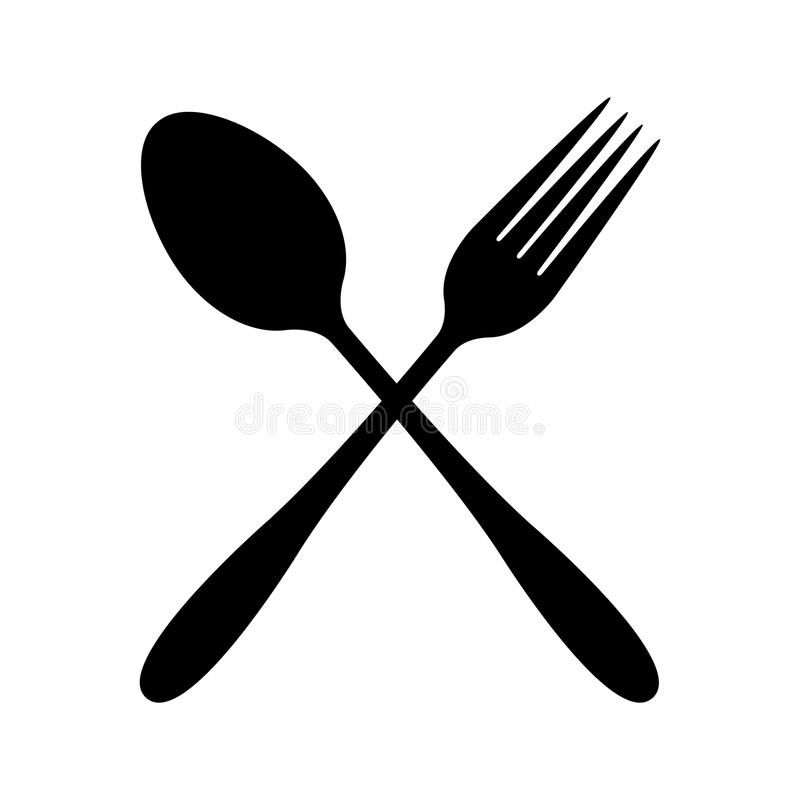 Cutlery set of vector icons. fork knife and spoon simple sign. Black royalty free illustration