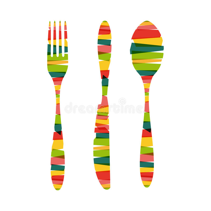 Cutlery shapes of stripes illustration vector illustration