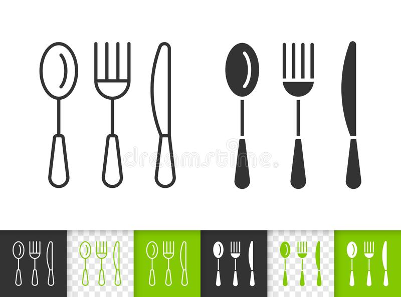 Cutlery simple kitchen ware black line vector icon royalty free illustration