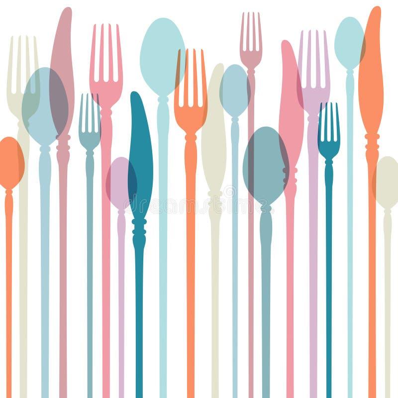 Cutlery tło Z Retro Colours ilustracji
