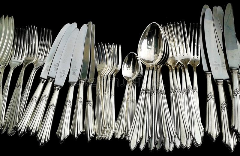 Cutlery, Tableware, Fork, Black And White stock photo