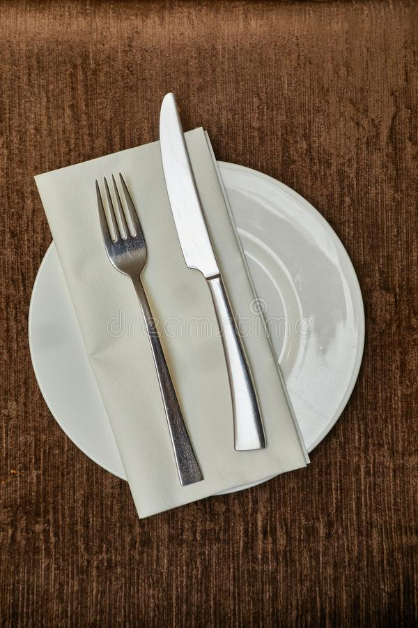 Cutlery on a teble stock photography