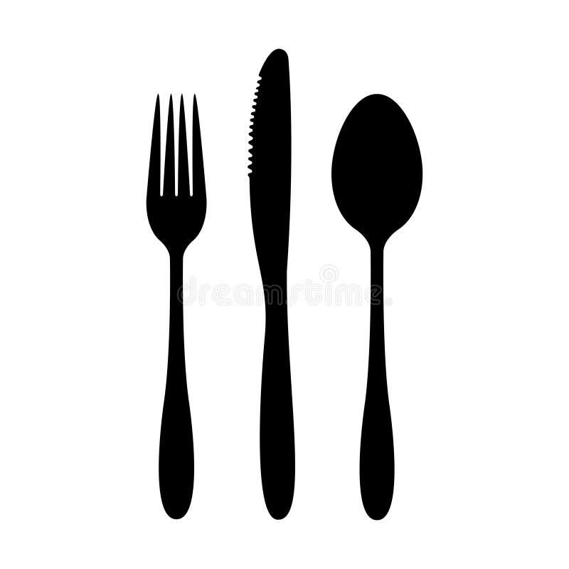Cutlery ustawiający wektorowe ikony rozwidlenie nóż i łyżkowy prosty znak ilustracji