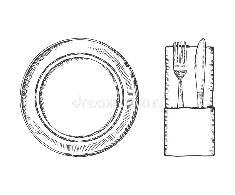 Cutlery vector sketch. table setting isolated black  sc 1 st  Dreamstime.com & Cutlery Vector Sketch. Table Setting Isolated Stock Vector ...