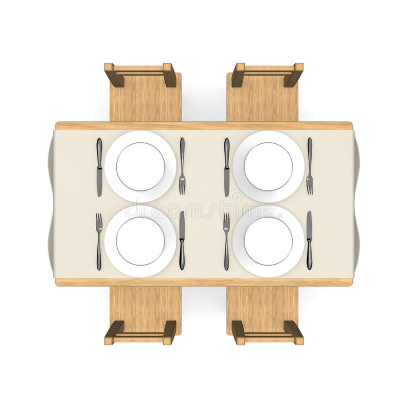 Cutlery on wooden dining table top view stock illustration for Table vue de haut