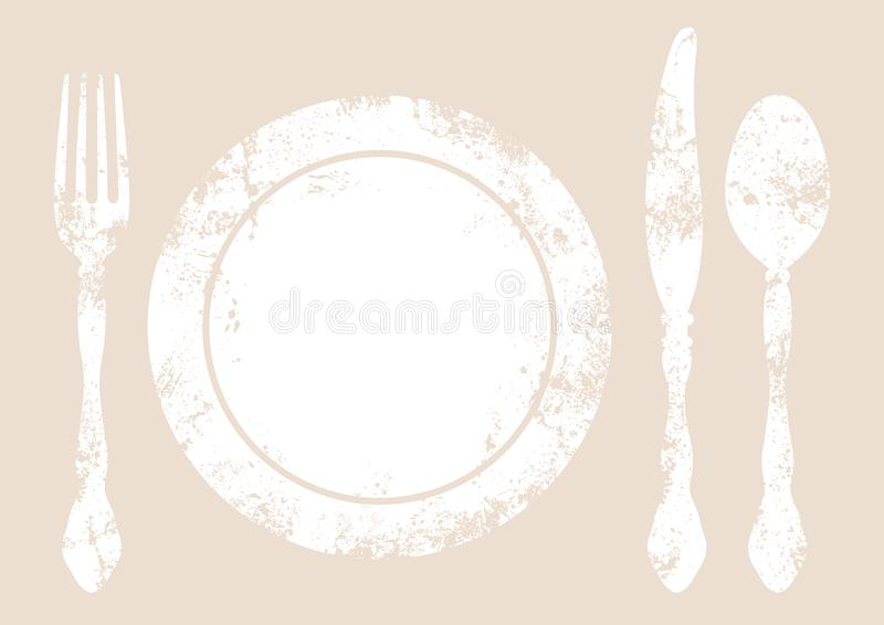 Cutlery Z Półkowym tło bielem, beżem I royalty ilustracja