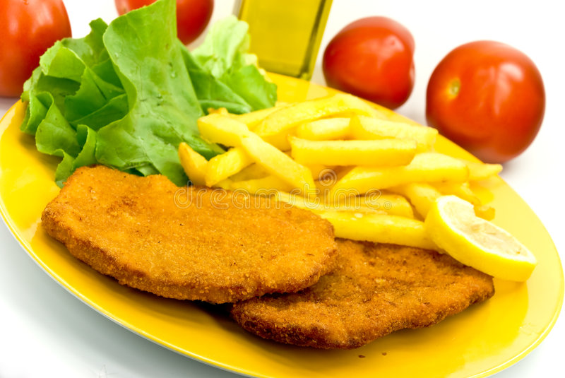 Download Cutlet,breaded-with French Fries Stock Photo - Image: 6120046