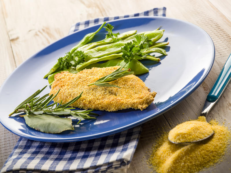 Cutlet Breaded With Maize Flour Royalty Free Stock Images