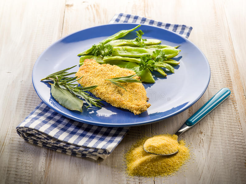 Cutlet breaded with maize flour
