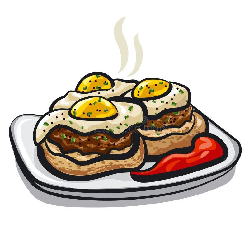 Cutlets z jajkami royalty ilustracja
