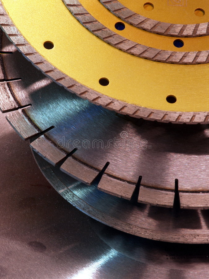 Cutoff disks stock images