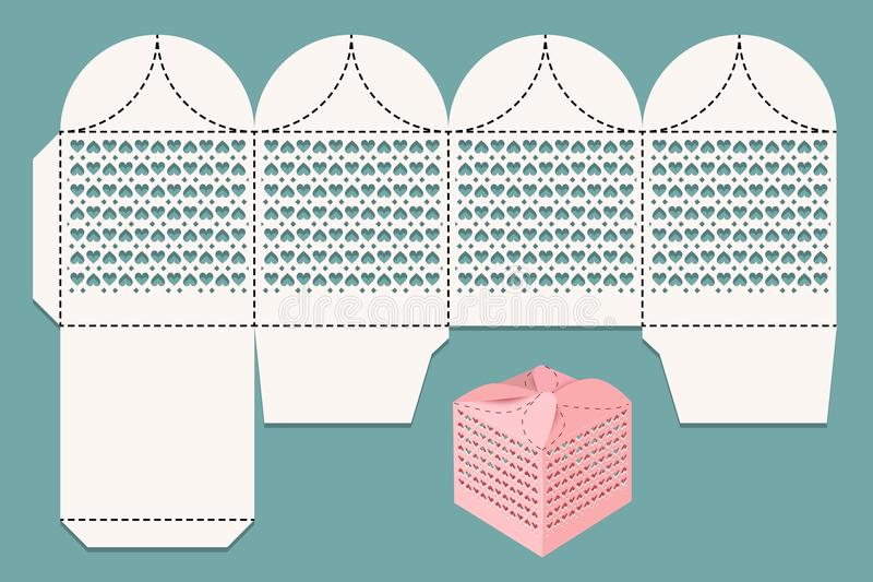 Cutout box. Scan layout for laser cutting and visualization. Gift box for a gift to guests at a wedding. stock illustration